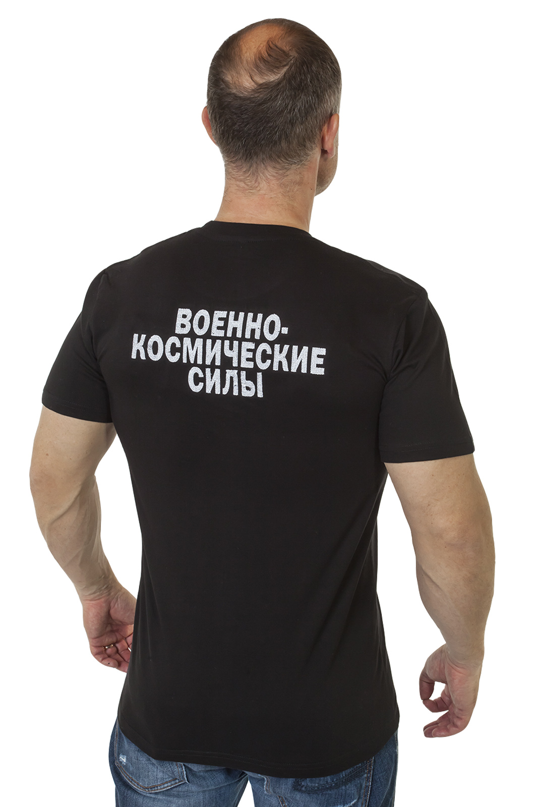 """Футболка с вышивкой """"Военно-космические силы"""" по выгодной цене"""