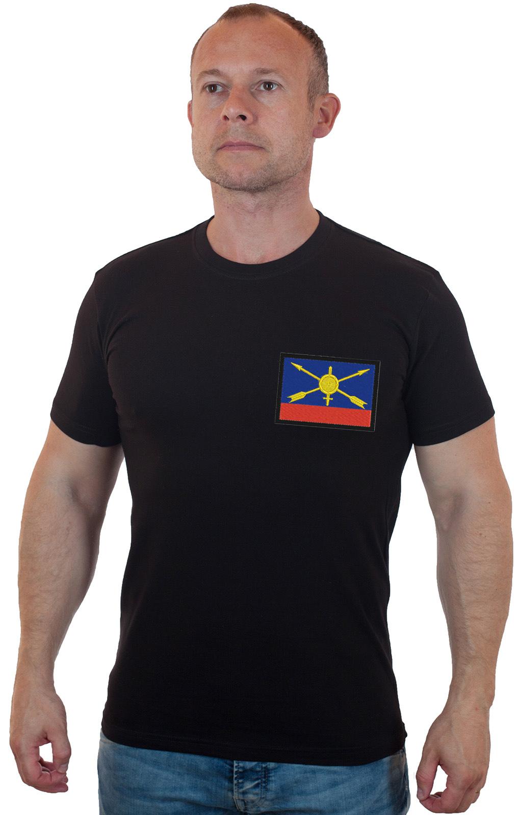 Черная футболка для военного с шевроном РВСН