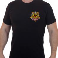 Черная мужская футболка с цветным шевроном РХБЗ.