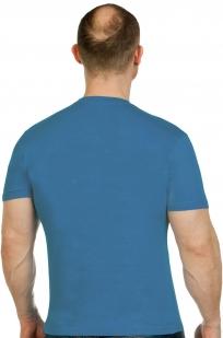 Футболка сине-зеленая мужская с вышивкой СПЕЦНАЗ ГРУ - заказать оптом