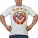Белая футболка с цветным гербом СССР