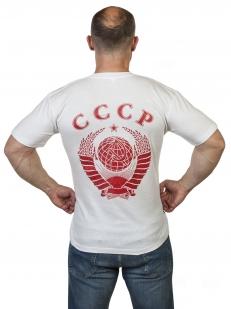 Белая футболка с цветным гербом СССР по выгодной цене