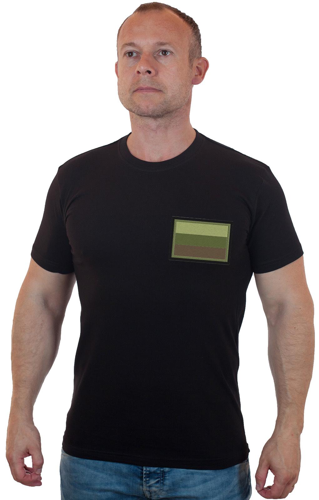 Хлопковая черная футболка с флагом России
