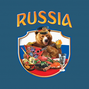 Футболка сувенирная RUSSIA «Мишка за столом».