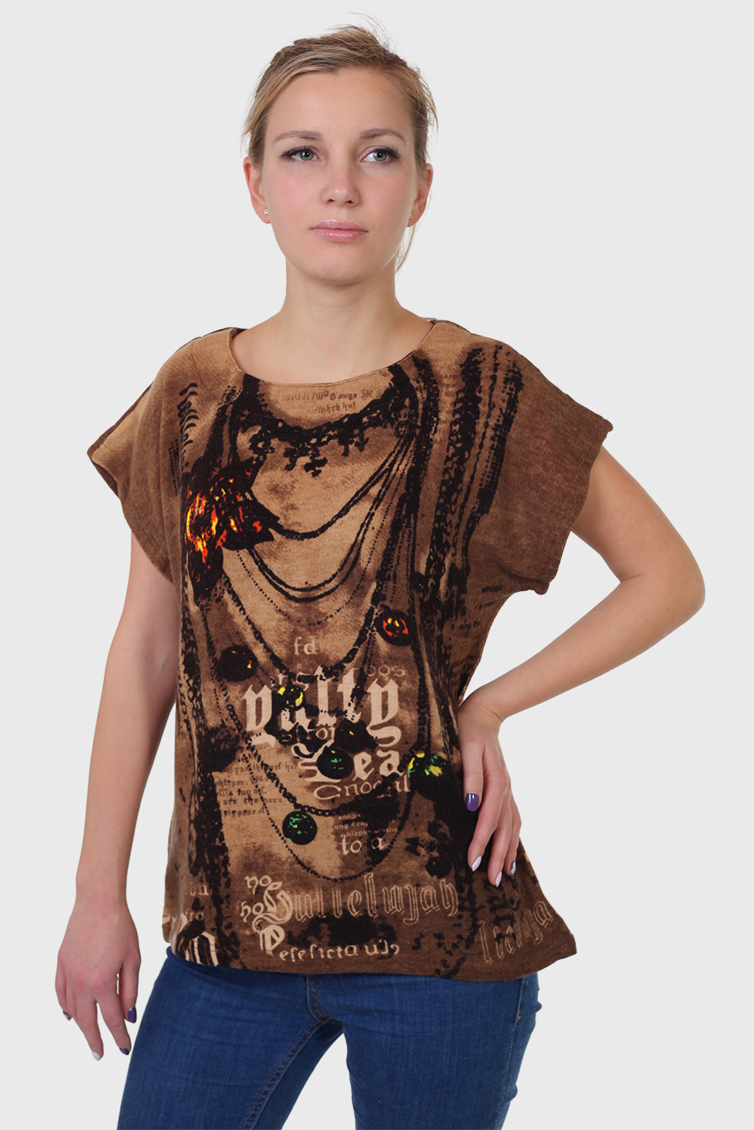 Модная женская футболка-туника из уютного трикотажа.