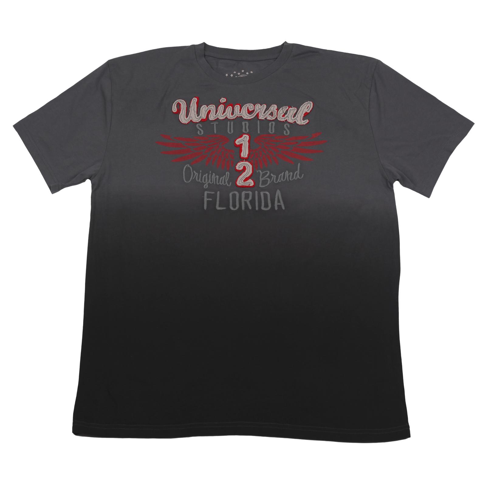 Футболка Universal Studios оригинального серого цвета. Тематические надписи, натуральная ткань