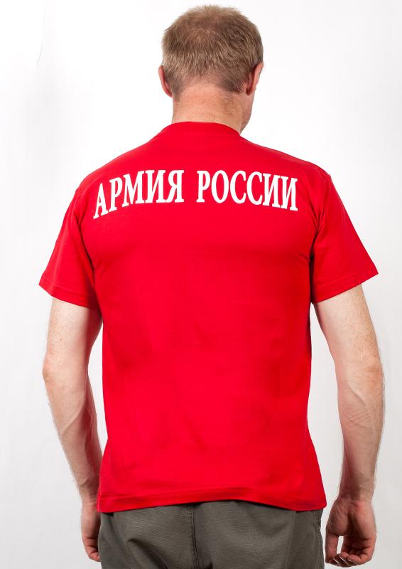 """Футболка """"Войска армии России"""" красная-вид со спины"""