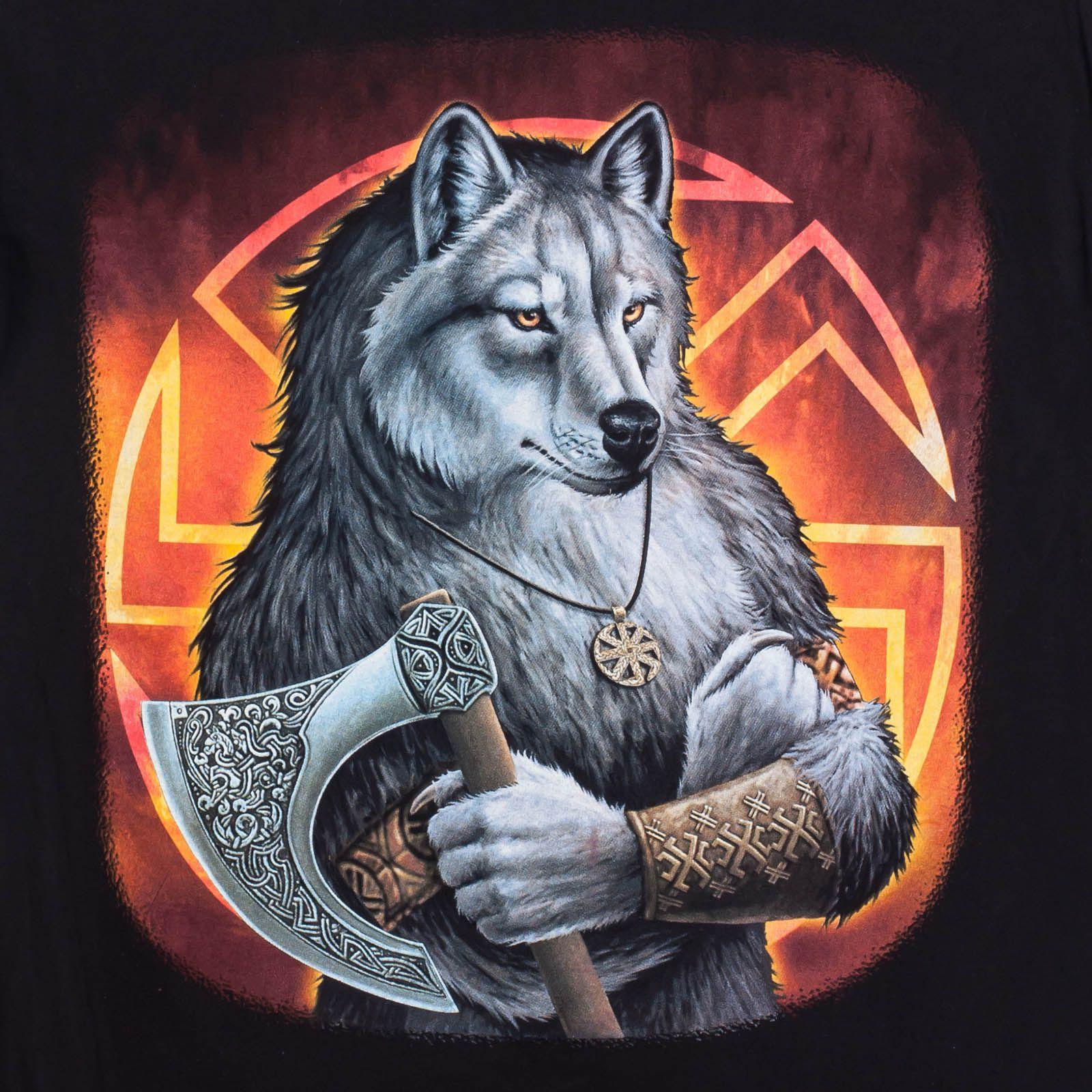 Футболка «Коловорот волк» чёрная - принт