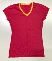 Футболка женская красная с желтым кантом