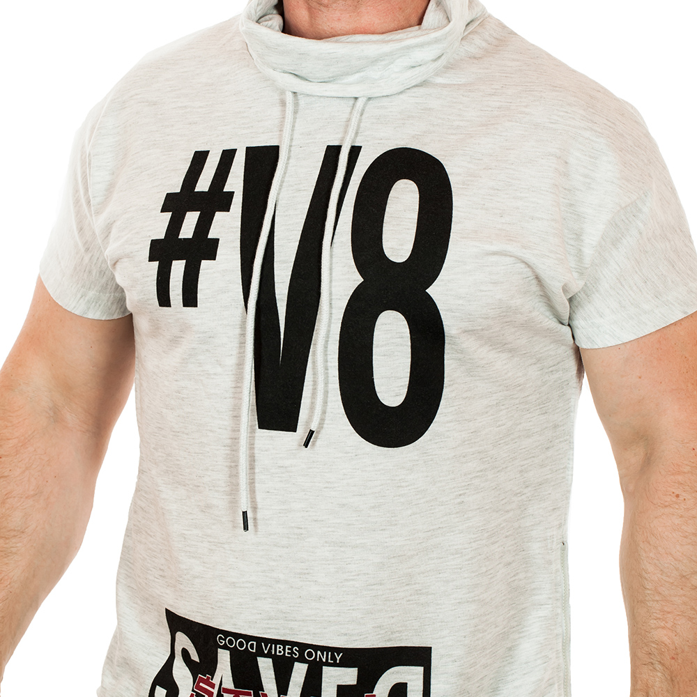 Мужская футболка Splash на 8 ЦИЛИНДРОВ! Высокий ворот + регулировочный шнурок