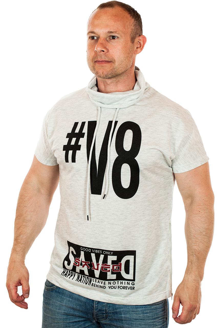 Мужская футболка с модной высокой горловиной
