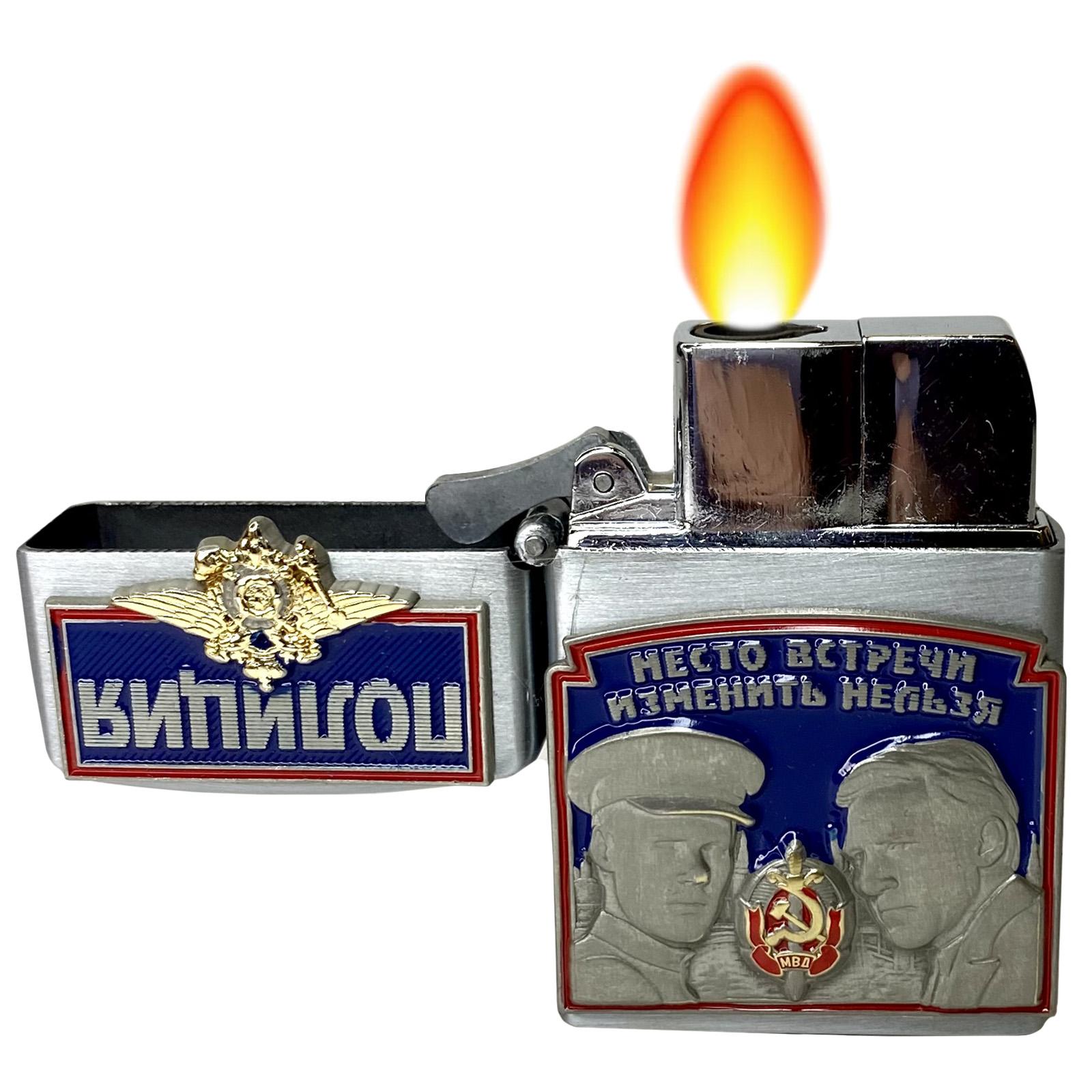 """Газовая зажигалка с накладками """"Полиция"""" отменной функциональности"""