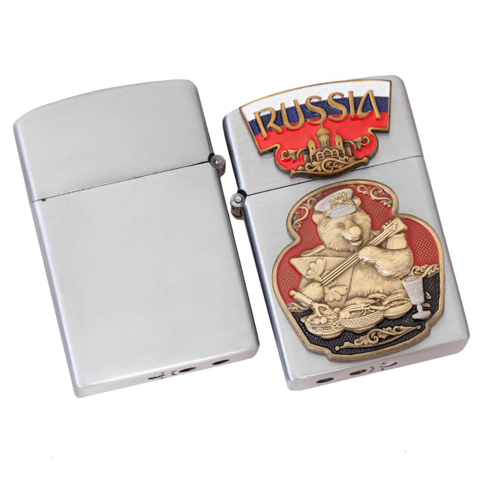 Газовая зажигалка с накладкой Русский медведь - отменного качества