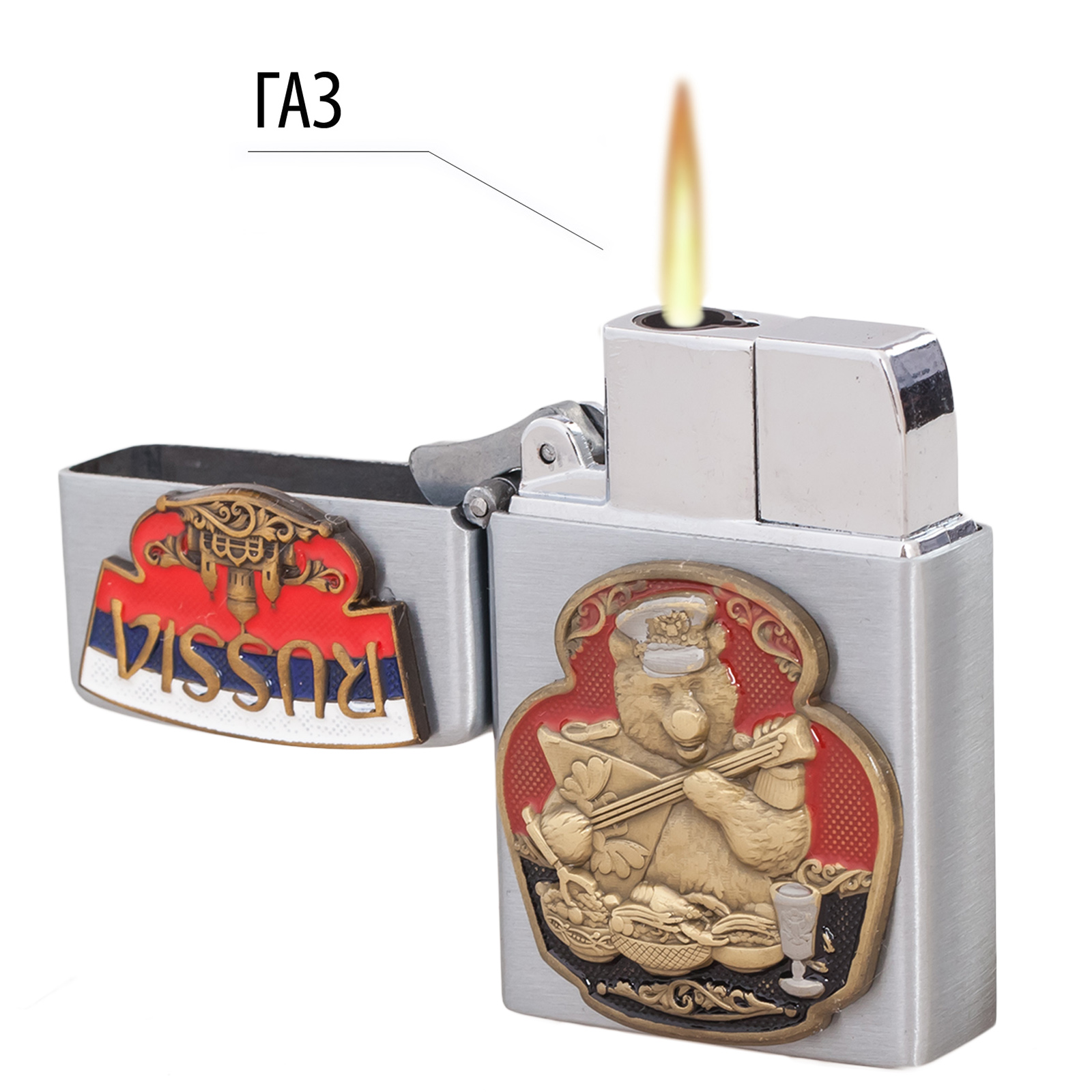 Газовая зажигалка с накладкой Русский медведь