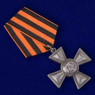 Георгиевский крест ДНР в футляре из флока бордового цвета - общий вид