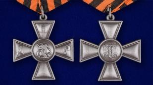 Георгиевский крест ДНР в футляре из флока бордового цвета - аверс и реверс