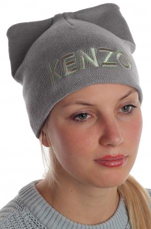 Гламурная шапка Kenzo супермодная женская модель с ушками благородного серого цвета