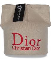 Гламурная женская шапка с оригинальными ушками Dior из качественного трикотажа
