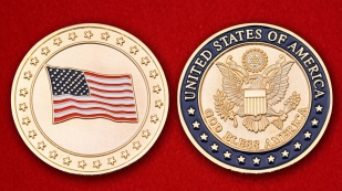 God Вless America Challenge Coin - obverse and reverse
