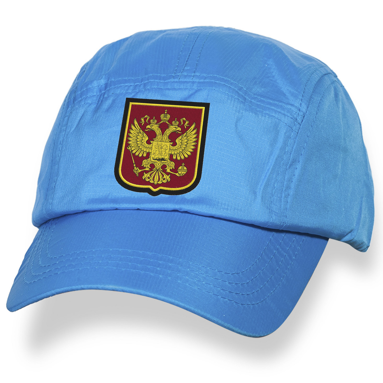 Голубая бейсболка с нашивкой Двуглавый Орёл России.