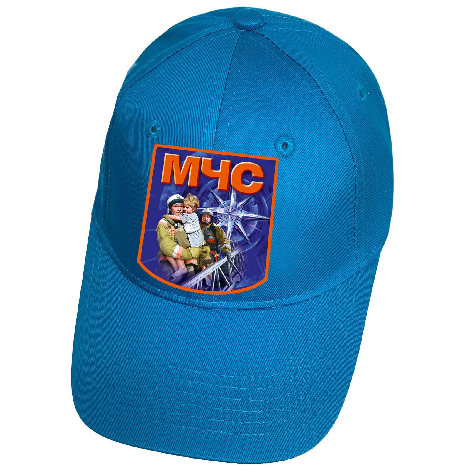 Голубая бейсболка с термотрансфером МЧС