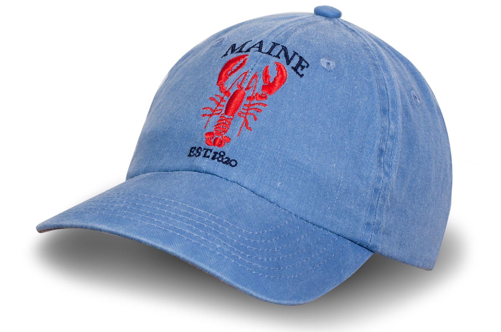 Голубая джинсовая кепка с вышивкой - купить в интернет-магазине с доставкой