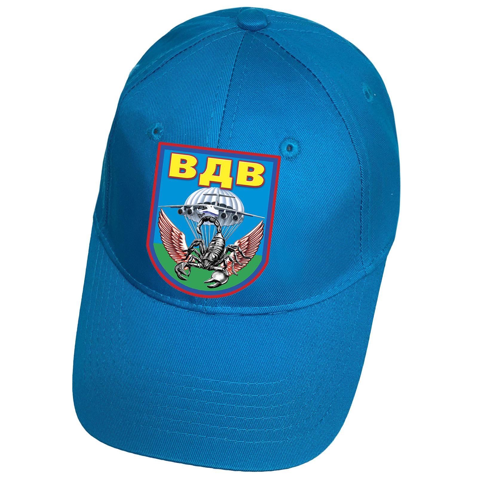 Голубая кепка с термотрансфером ВДВ Скорпион