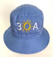 Голубая летняя панама с вышивкой 3 O A.