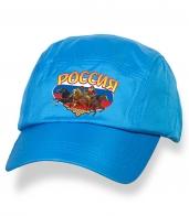 Голубая надежная бейсболка с термонаклейкой Россия
