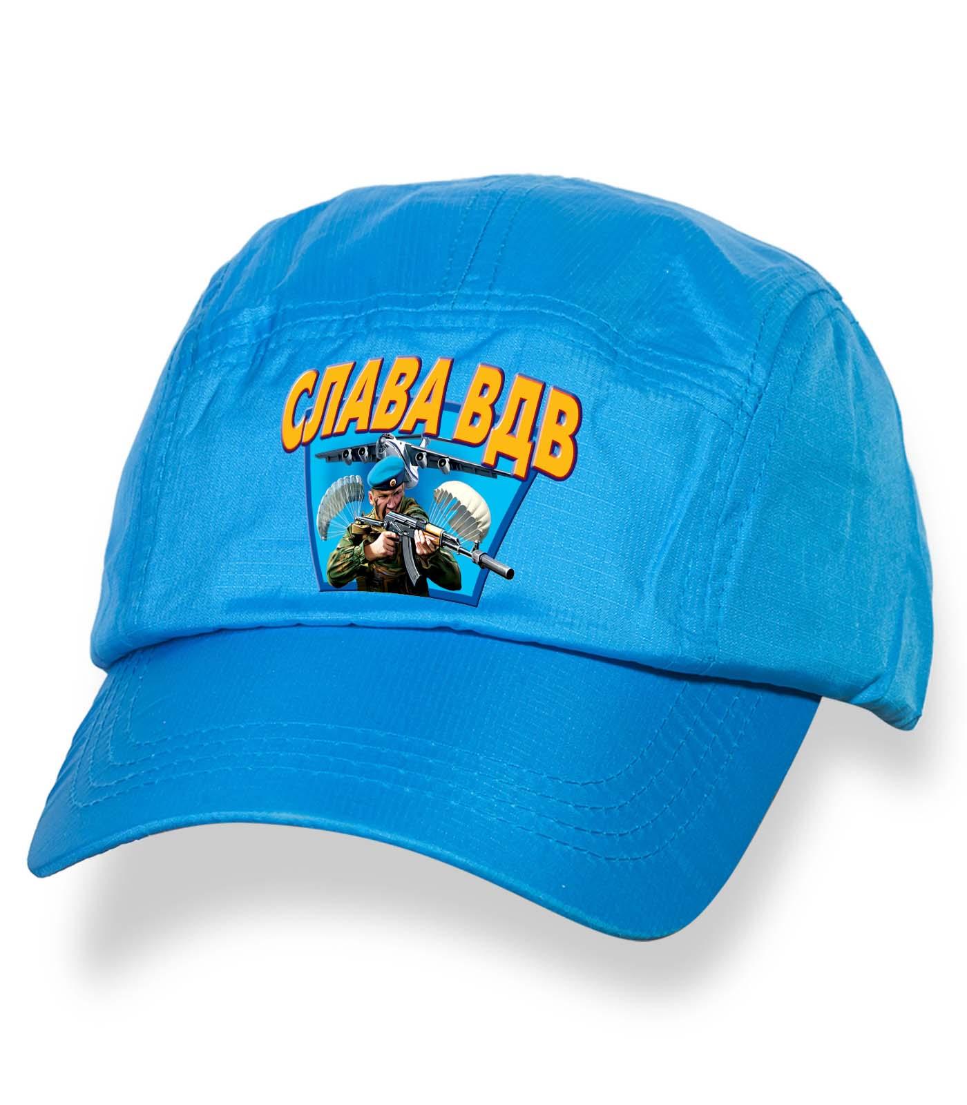 Голубая надежная кепка-пятипанелька с термонаклейкой Слава ВДВ