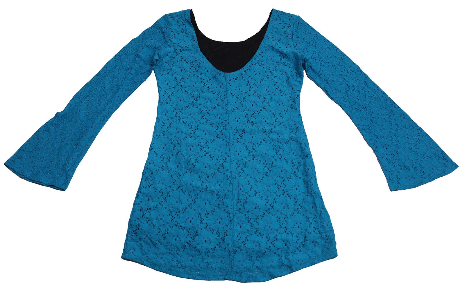 Заказать голубое гипюровое платье Rock&Roll CowGirl оригинального винтажного дизайна по оптимальной цене