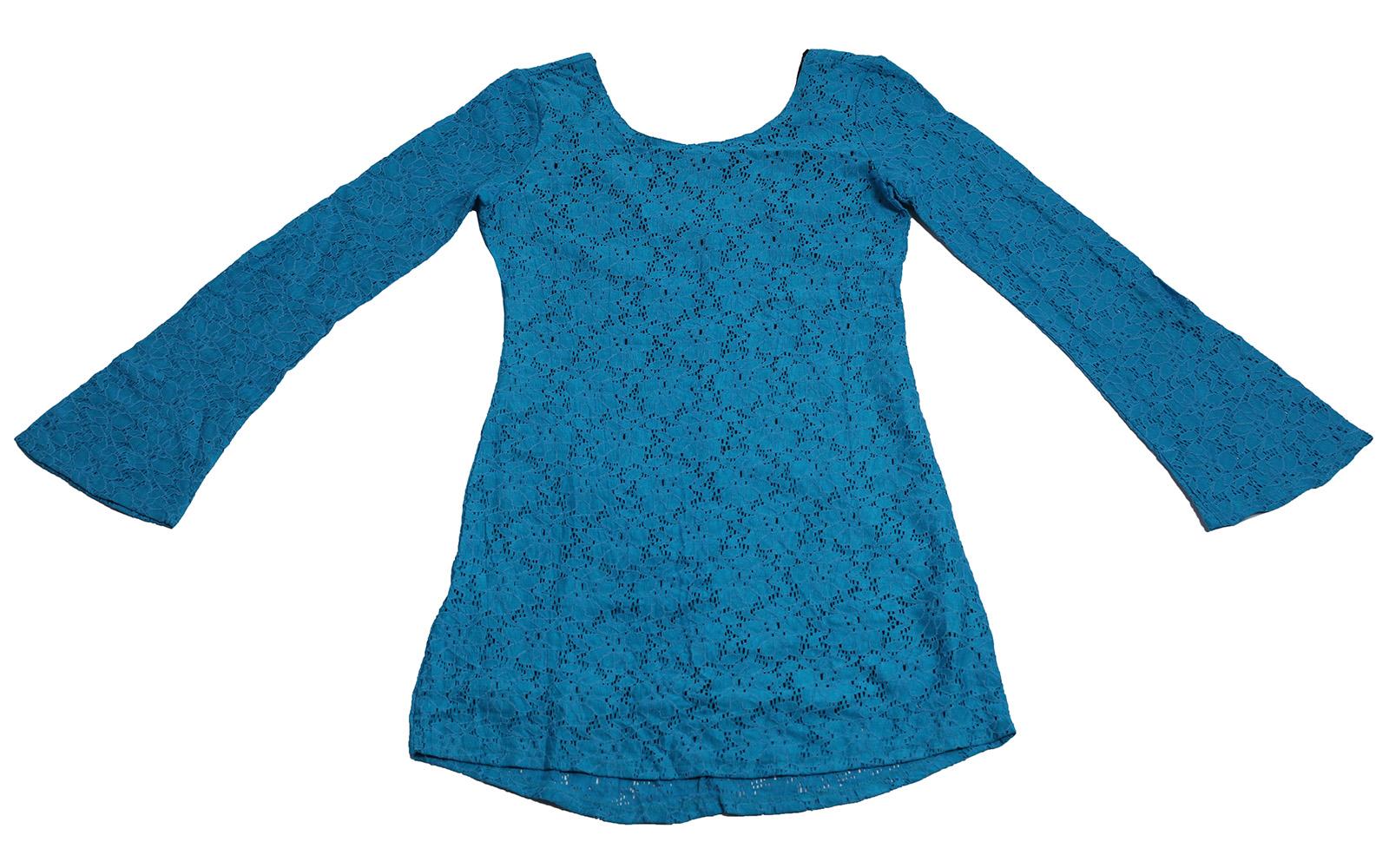 Голубое гипюровое платье Rock&Roll CowGirl оригинального винтажного дизайна