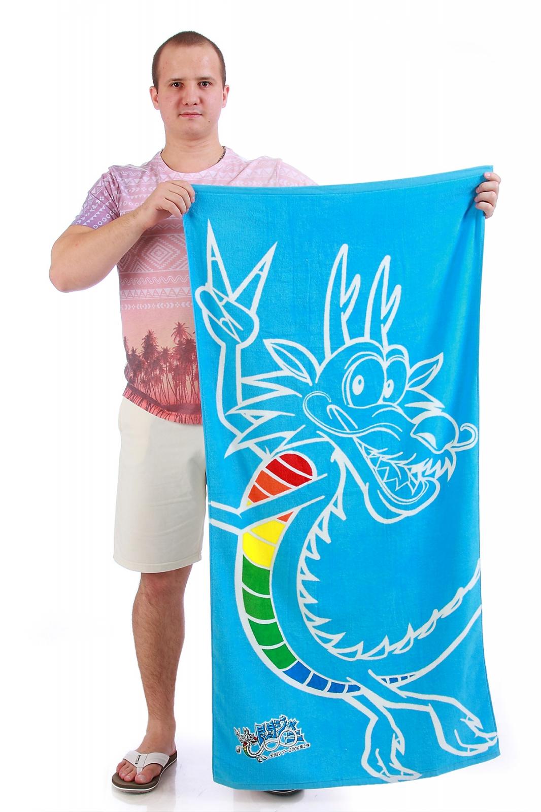 Голубое полотенце с драконом - интернет-магазин