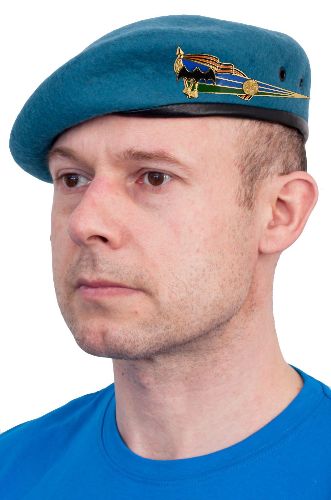 Голубой берет спецназа с околышем