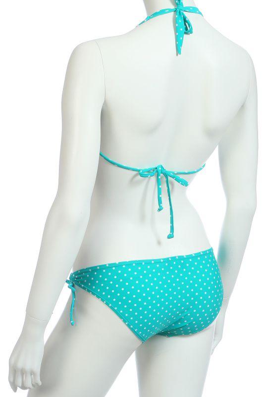 Голубой купальник в горошек - вид сзади