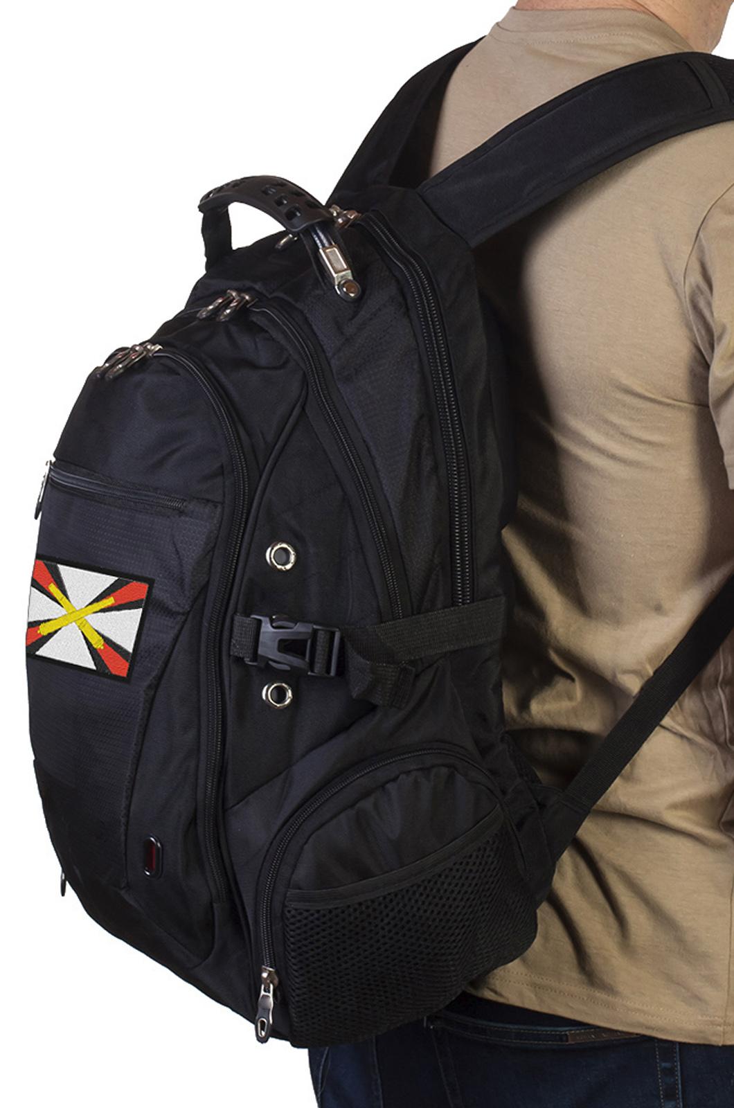 Городской черный рюкзак с эмблемой Артиллерии купить онлайн