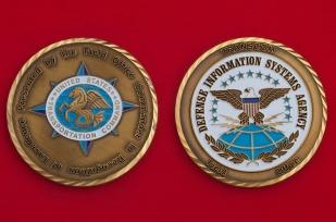 """Челлендж коин """"За отличие"""" от начальника полевого отдела Агентства по оборонным информационным системам Транспортного командования  Министерства обороны США"""