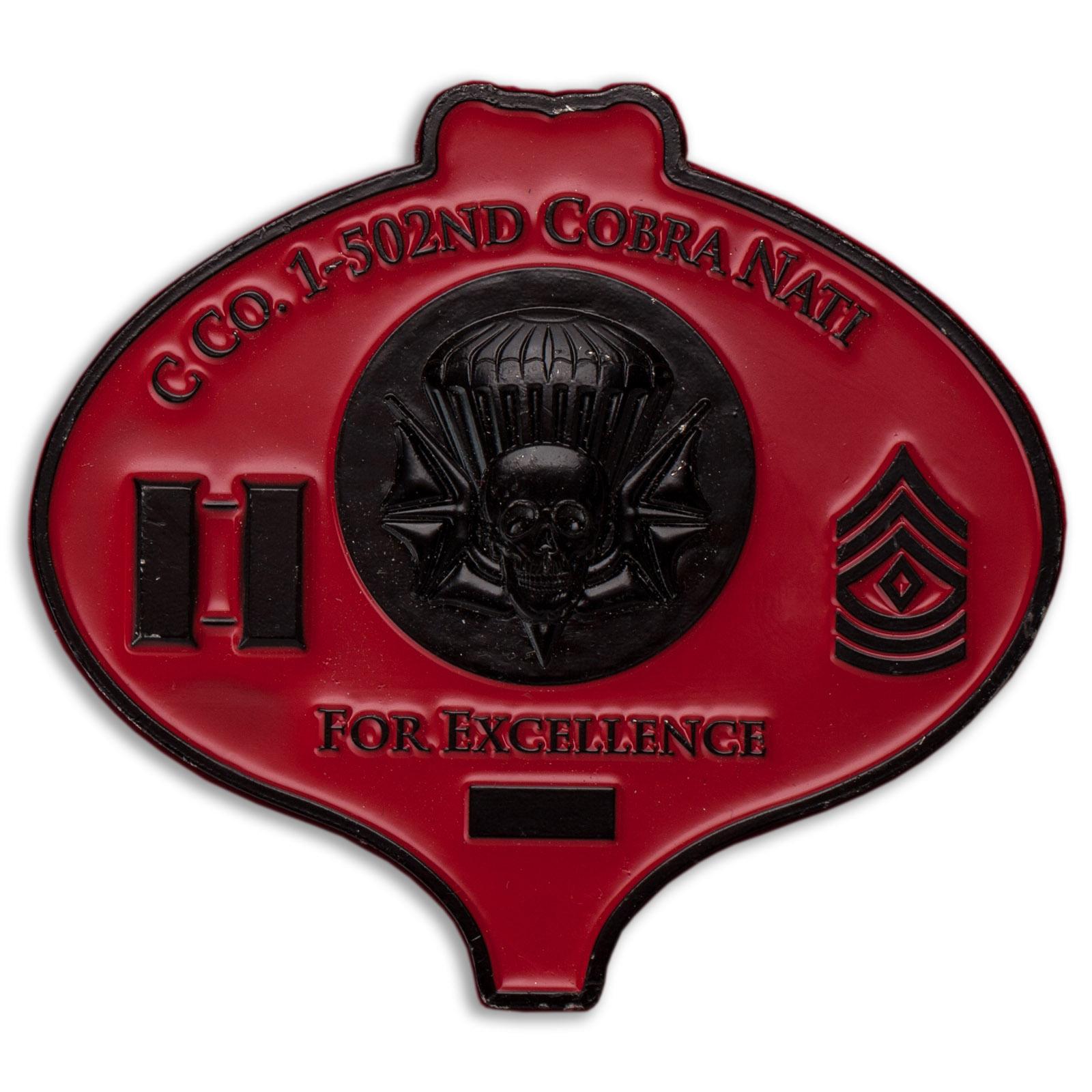 Челлендж коин За отличие роты C (Кобра) 1-го батальона 502-го пехотного полка 2-й БрТГ 101-й ВДД Армии США