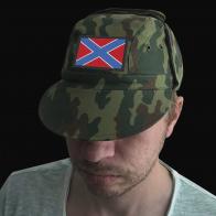 Хлопковая кепка камуфляж с флагом Новороссии