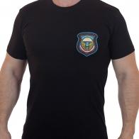 Хлопковая черная футболка с вышитой эмблемой 76 Черниговская дивизия ВДВ