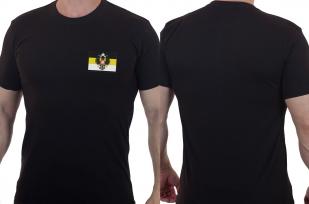 Хлопковая черная футболка с вышитым гербом Российской Империи - заказать в подарок