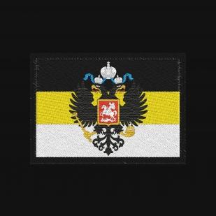 Хлопковая черная футболка с вышитым гербом Российской Империи