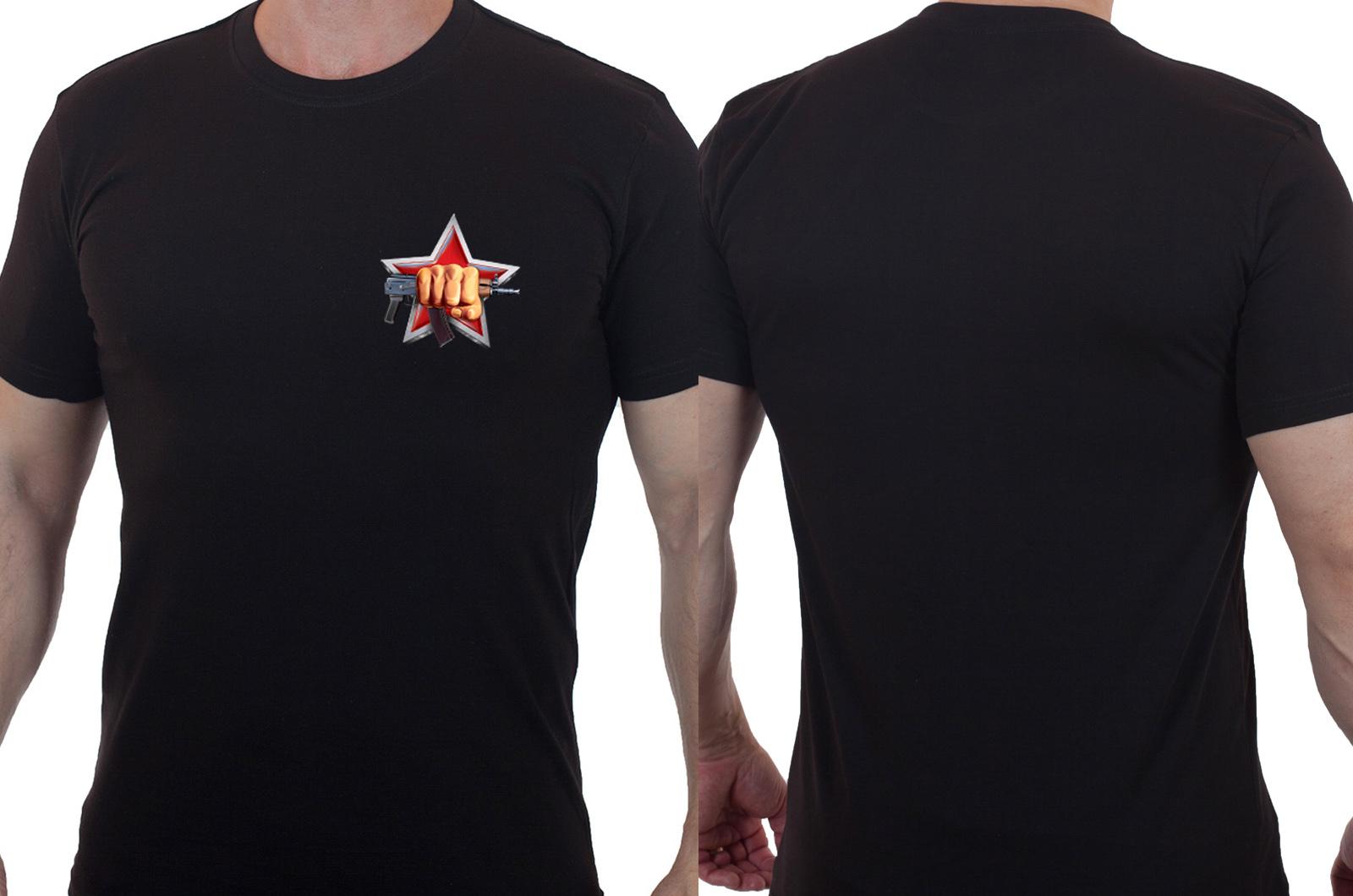 Хлопковая черная футболка Спецназ ВВ РФ - заказать выгодно