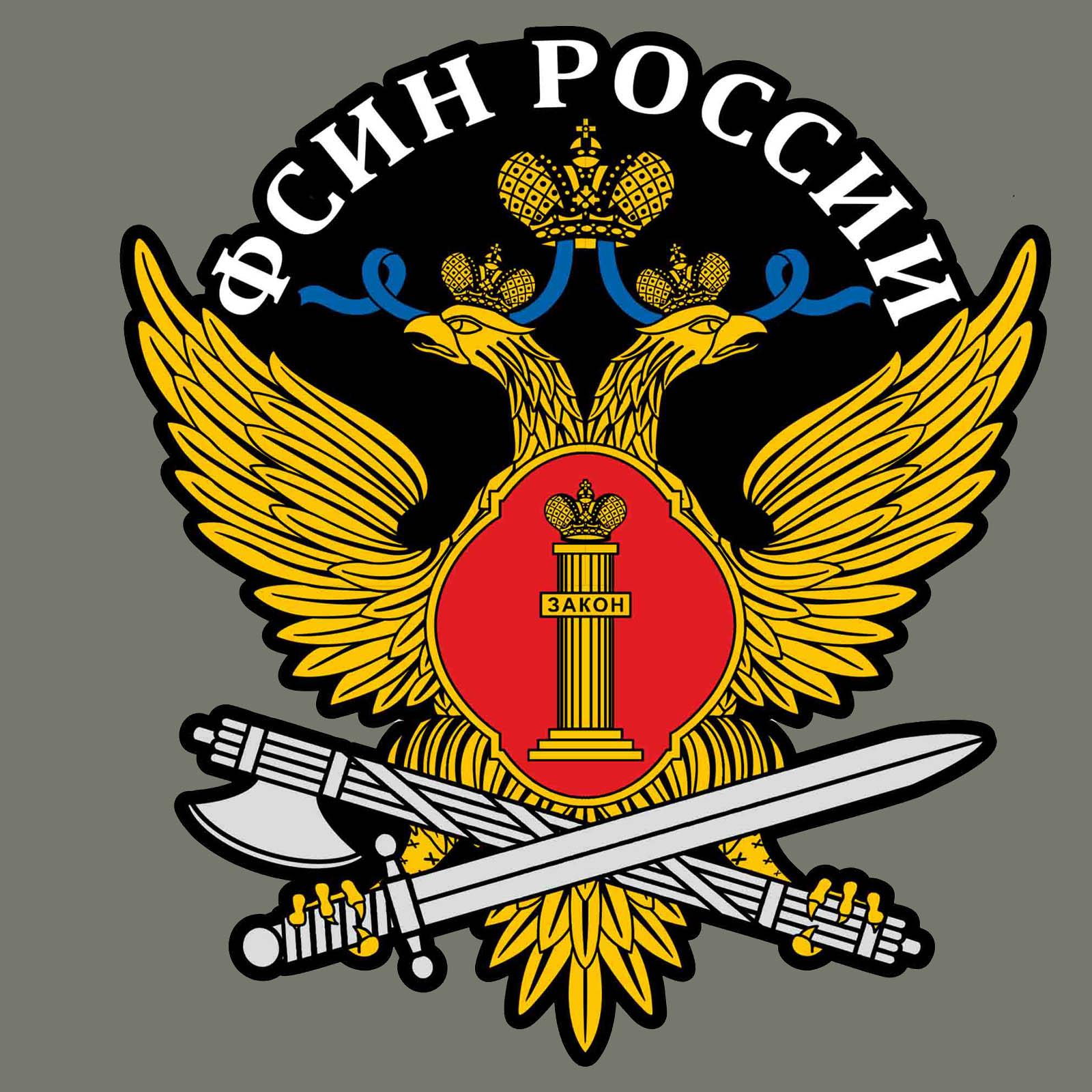 """Хлопковая футболка хаки """"ФСИН России"""" с термотрансфером"""