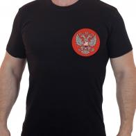 Хлопковая футболка с вышитым гербом России