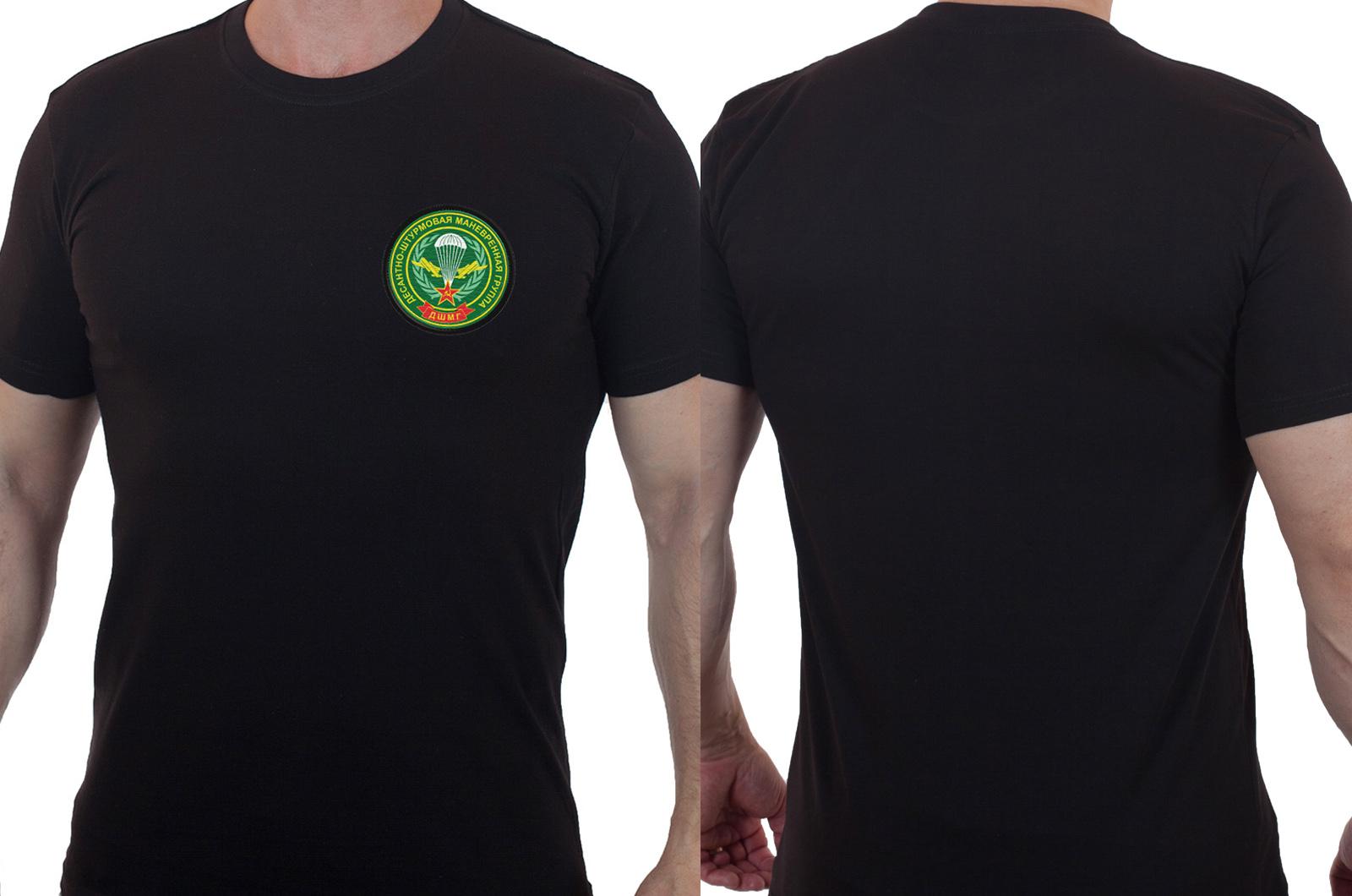Хлопковая футболка  с вышитым шевроном ДШМГ ПВ - купить по низкой цене