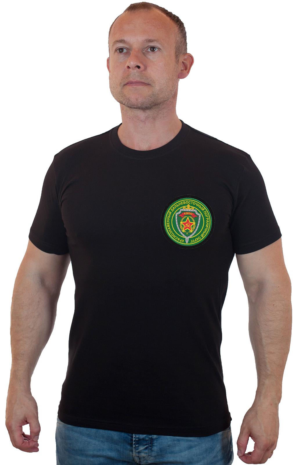 Хлопковая футболка  с вышитым шевроном КДПО - заказать оптом