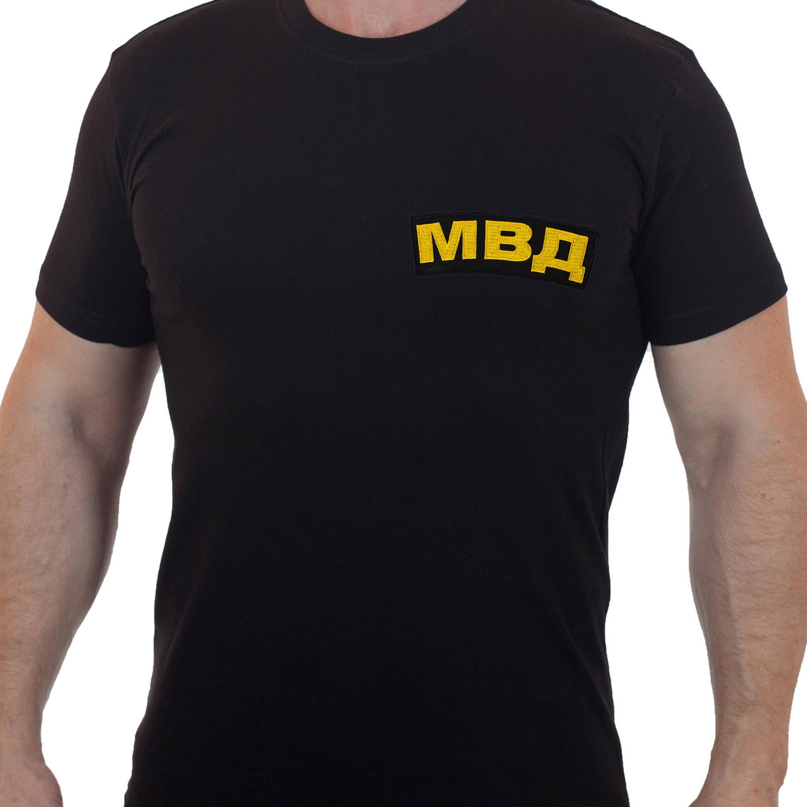 Хлопковая футболка  с вышивкой МВД