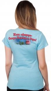 """Хлопковая футболка с ярким принтом """"Жена офицера"""" по выгодной цене"""