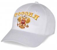 Хлопковая классическая бейсболка с принтованным золотым государственным гербом Россия - настоящий патриотический дизайн по минимальной цене. Поспеши заказать!